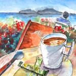 Pause-café à Agia Georgios en Crète