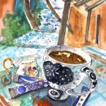 Pause-café à Elos en Crète