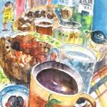 Pause-café à Gerakari en Crète