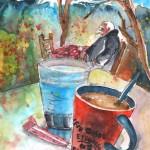 Pause-café à Omalos en Crète