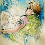 Homme Tatoué lisant Journal