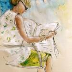 Femme lisant Journal