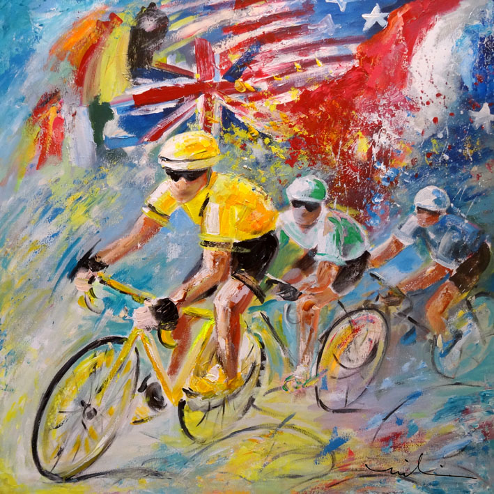 cyclisme en peinture par l 39 artiste fran aise miki de goodaboom. Black Bedroom Furniture Sets. Home Design Ideas
