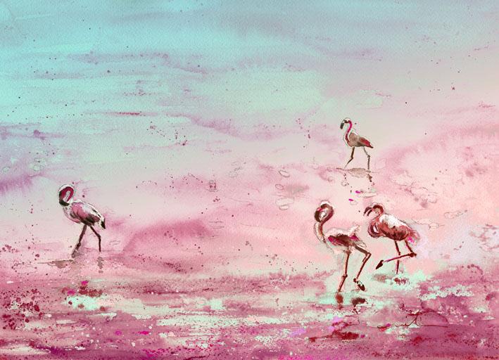 Les flamants roses de camargue aquarelles par miki de - Flamant rose camargue ...