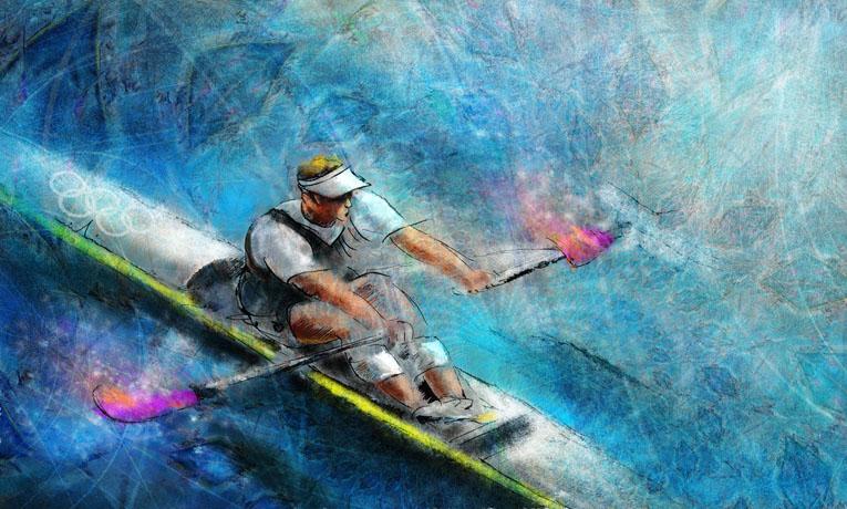 Sports nautiques en peinture - Par la peintre Miki de Goodaboom